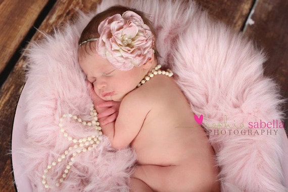 Gorgeous Vintage Pink-Taupe Rose With Pearls on a Skinny Ivory Headband (Newborn, Toddler, Child)