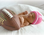 Crochet Baby Girl Football Beanie - Newborn to Adult - Watermelon and White - MADE TO ORDER