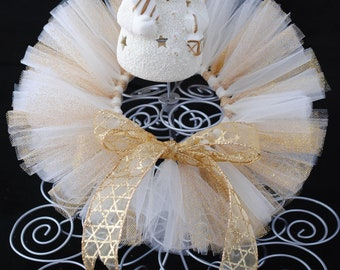 Ivory and Gold Newborn Tutu - Newborn Christmas Tutu -  Ready To Ship