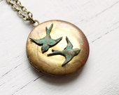 Vintage Swallow Bird Locket ... Verdigris Birds on Antique Gold Brass Pendant
