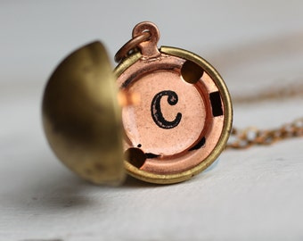 Personalized Locket Necklace ... Initial Name Alphabet Sphere Ball Globe Vintage