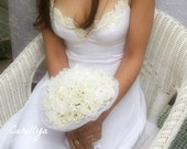 Fabric Bridal Bouquet Ivory Silk Roses Lace Flowers with Pearls NAOMI