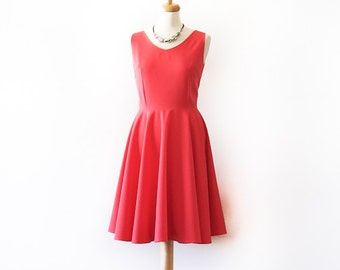 Coral dress, 50s prom dress, vintage inspired dress, custom made dress, circle skirt dress