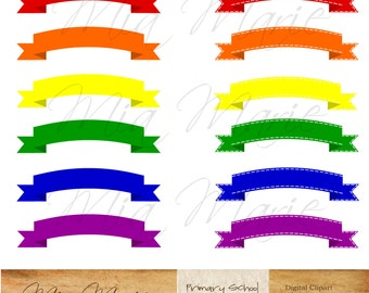INSTANT DOWNLOAD - Digital Scrapbooking Banner Flag Ribbon Primary Colors, rainbow,  red, orange, yellow, green, blue, purple, jpg