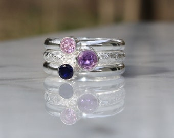 3 Birthstone Stacking Ring Set, Stacking Family & Mother's Rings, two 4mm gems and one 5mm gemstone, Sterling Silver  Custom made