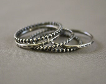 5 Oxidized Skinny  Sterling Silver Stacking Rings, Custom made