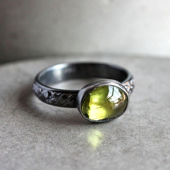 Lime Green Peridot Ring, Spring Green Gemstone Oxidized Sterling Silver Ring August Birthstone Peridot Jewelry - Made to Order