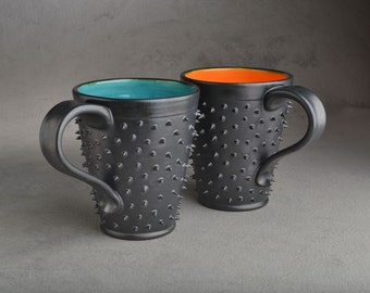Spiky Mugs Cups  Made To Order Dangerously Spiky Black Mugs Set of 2