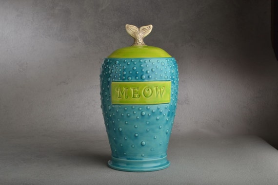 Cat Treat Jar  Made To Order Fish Tail Meow Stamped Dottie Cat Treat Jar by Symmetrical Pottery