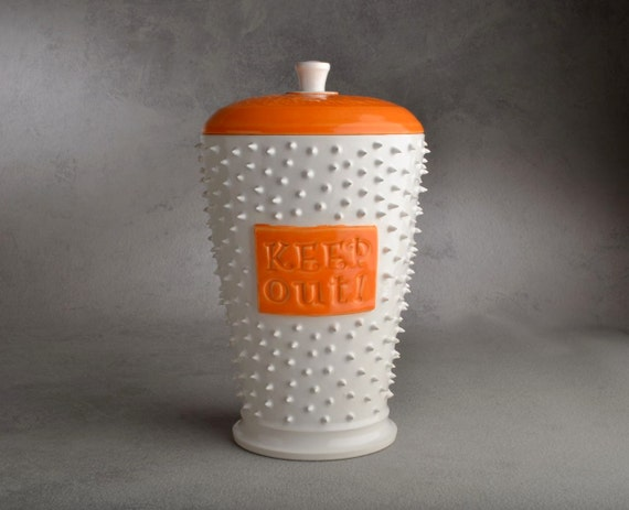 Cookie Jar Ready To Ship Keep Out Dangerously Spiky Cookie Jar by Symmetrical Pottery