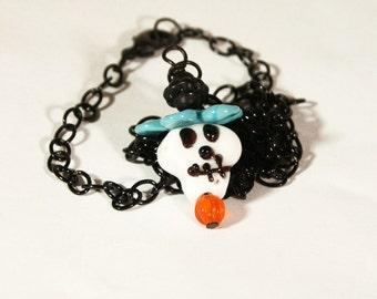 Sugar Skull Necklace //  Valentine Skull Gift // Day of the Dead Lamp Work/   Sugar Skull Necklace on Black Chain