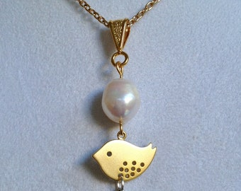 Bridal Pearl and Bird Necklace