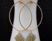 Gold Tear Drop Hoops with  and Light Beige & Gold Art Deco Fan Earrings