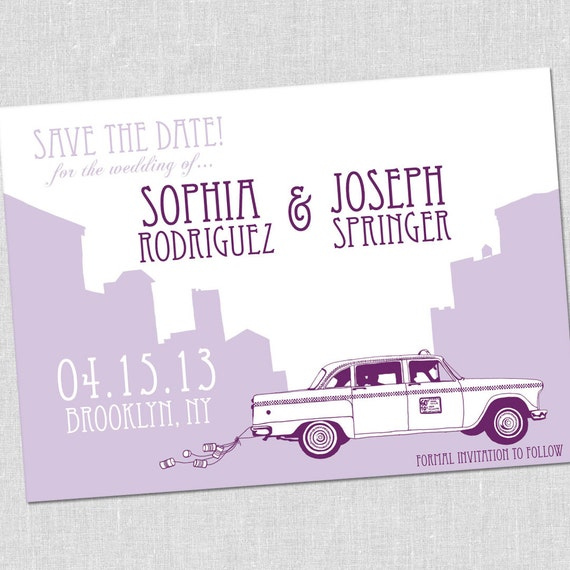SMALL New York City Taxi Save the Date Card