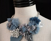 JEAN Blue Silver Mixed Media Statement Necklace