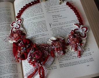 QUEEN OF HEARTS Red and White Beaded Textile Statement Necklace