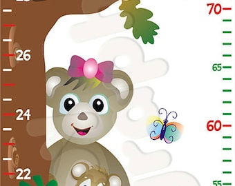 Animals on Tree Growth Height Chart Wall Sticker Removable - by babygraphics