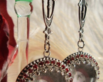 Art Nouveau Deco Flapper Photo Earrings Silver and Ruby Crystal