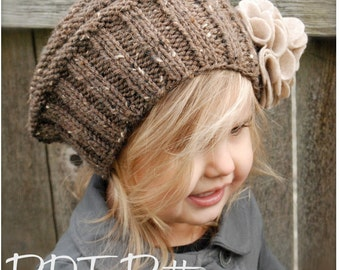 Knitting PATTERN-The Lilian Beret (Toddler, Child, Adult sizes)