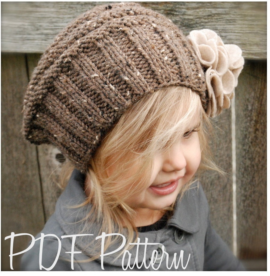 Knitted Beret Pattern Toddler : Knitting PATTERN-The Lilian Beret Toddler Child by Thevelvetacorn