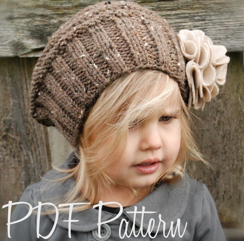 Free Knitted Flowers Patterns : Knitting PATTERN-The Lilian Beret Toddler Child Adult