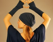 Slouchy Hat  - Beanie - Navy Blue - Organic Clothing - Eco Friendly - Gift for Her - Ready to Ship