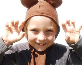 Halloween Eco - Friendly Children's Animal Hat  - Bear -  Organic Cotton Hemp Fleece - Eco Friendly - Organic Clothing