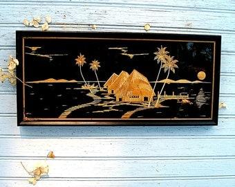 Vintage Mid Century Modern Tropical Rice Straw Art/ Tiki