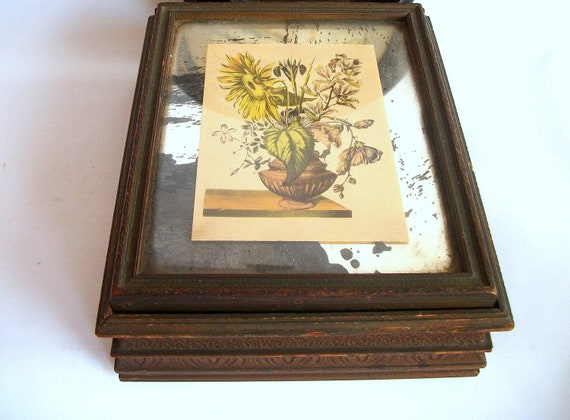 Vintage Box with Distressed Mirror and Botanical Print