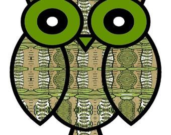 "Abstract Owl Art,  owl art, owl poster, ""Tree Hugger"", whimsical owl painting, contemporary owl, modern owl, abstract owl art, owl print"