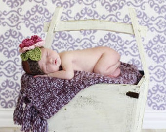 The Ava Flower Headband in Pink Rose, Baby Pink, Taupe and Green Available in Newborn to 4t - MADE TO ORDER