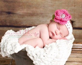 The Ava Flower Headband in Bright Pink, White and Celery Green Available in Newborn to 4T Free Shipping in the U.S.- MADE TO ORDER