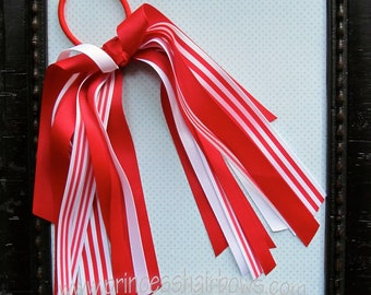 Red and White Stripes Cheer Leader Ponytail Streamer.  U of U colors