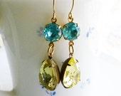 Jonquil Yellow Earrings - Blue Rhinestones