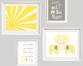 You Are My Sunshine  Yellow and Grey Elephant Print Set for girl or boy 11x14 and 8x10 - Eclectic style Gallery wall Art - YassisPlace 065