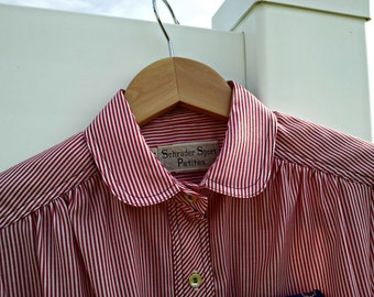 Vintage Peter Pan Collar Red and White Pinstripe Shirt Dress with Blue Contrasting Stitching - Schrader Sport - Like New
