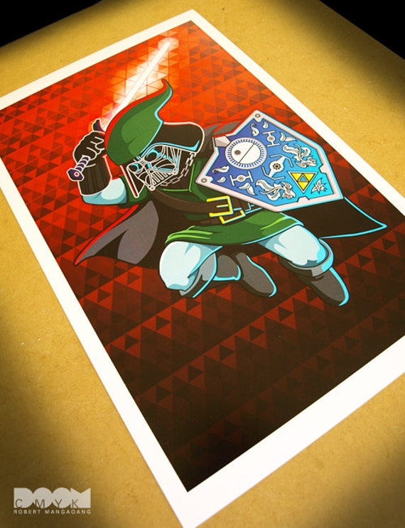 50% OFF FEATURED PRINT: Limited Edition Darth Link fan art mash up poster