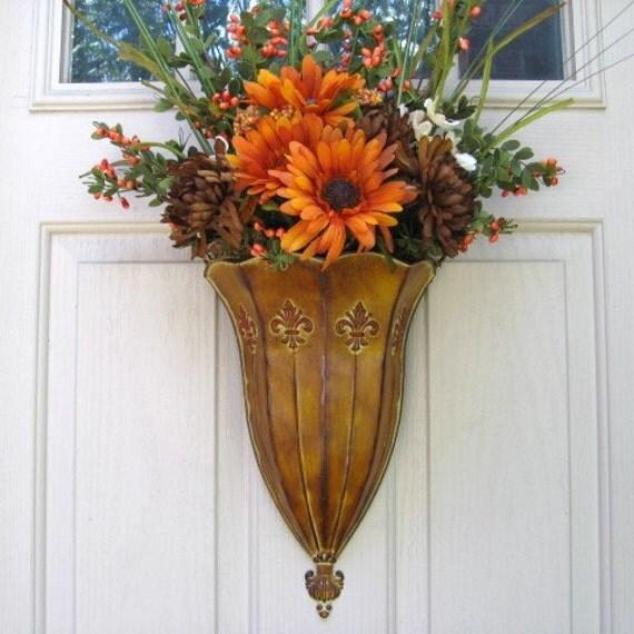 Fall Wreath, Harvest Wreaths, Autumn Wreath, Orange Wreath, Thanksgiving Decor, Orange Brown Rust Daisies Mums Front Door Wreath Alternative