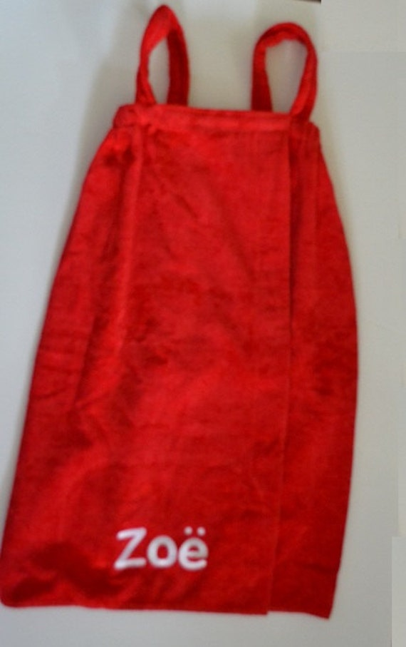 red girls terry velour spa wrap with straps from terry town