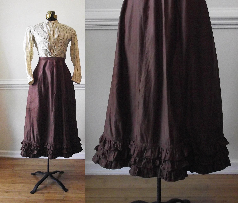Victorian Ruffle Corset Skirt / 1800s / Brown By RavishingRuby