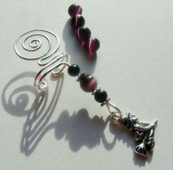 Sterling Wire Wrapped Ear Cuff, Witch Charm, Black Onyx, Purple Cats Eye