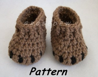 Instant Download to PDF Crochet PATTERN: Bear Claw Baby Booties