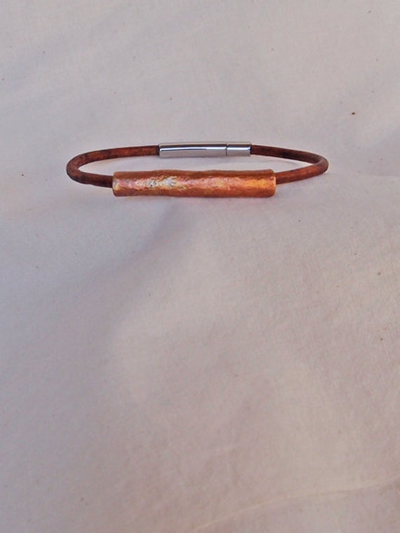 Stone Textured Handmade Copper Tube Bracelet