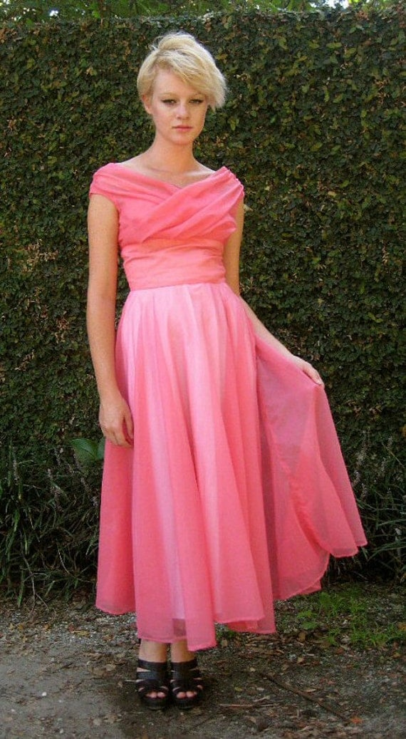 RESERVED Stunning 1950s Sheer Pink Gown with Shelf Bust -- Extra Small