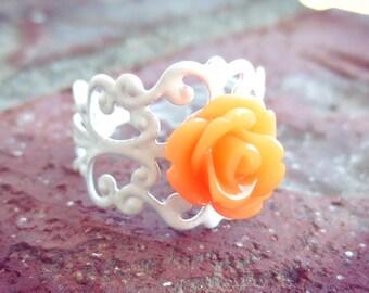 Tangerine Rose on White Filigree Ring