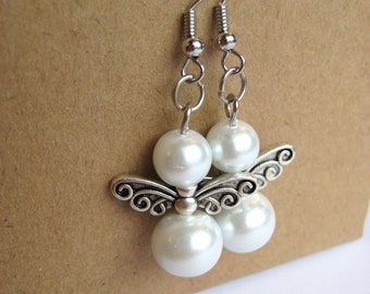 Angels White Glass Pearl Earrings