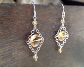 Faceted Citrine Beaded Dangle Earring on Sterling Silver French Wire