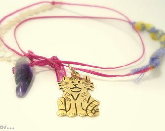 fuchsia gold cat necklace with fiber art  waxed thread, eco friendly jewelry