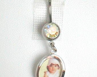 Unique Belly Ring - Sterling Silver Tiny Picture Frame