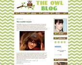 Premium Premade Blog Design Template for Blogger- The OWL Blog in Green Chevron- OOAK